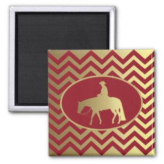 Golden/Bordeaux Pleasure Horse 2 Inch Square Magnet