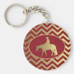 Golden/Bordeaux Pleasure Horse Basic Round Button Keychain