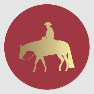 Golden/Bordeaux Pleasure Horse Classic Round Sticker