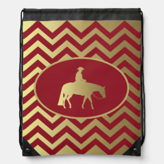 Golden/Bordeaux Pleasure Horse Drawstring Backpack