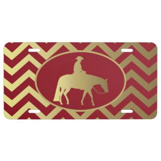 Golden/Bordeaux Pleasure Horse License Plate