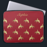 "Golden/Bordeaux Pleasure Horses Computer Sleeve<br><div class=""desc"">On the rail at a jog western pleasure horse silhouettes. Faux gold foil paired with bordeaux gives this silhouette a classy look.</div>"