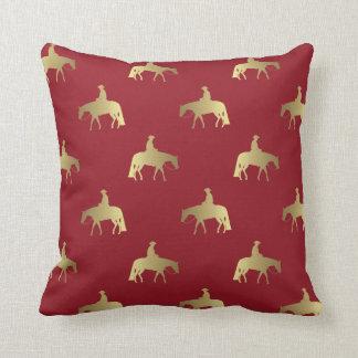 Golden/Bordeaux Pleasure Horses Throw Pillow
