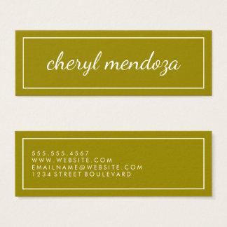 Golden Border Cursive Text Mini Business Card
