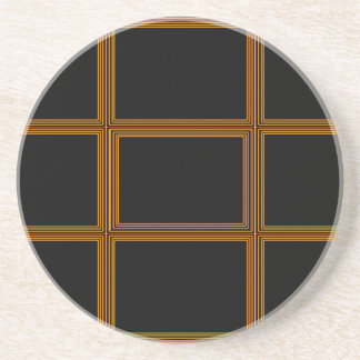Golden Border on Elegant Black Base Coasters