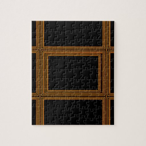 Golden Border on Elegant Black Base Puzzle