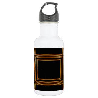 Golden Border on Elegant Black Base Water Bottle