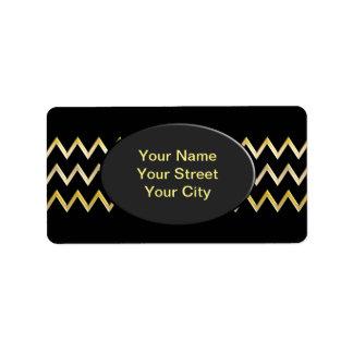 Golden Border - zigzag + your back & text Address Label