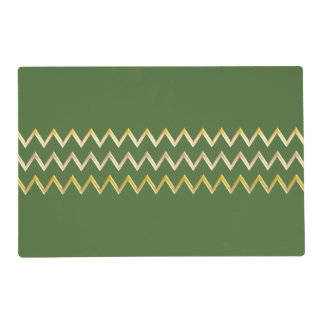 Golden Border - zigzag + your back & text Placemat