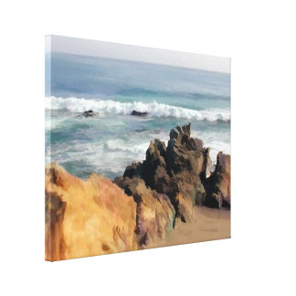 Golden Boulders at Entry to Cambria Beach Canvas Print