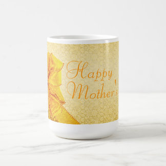 Golden bow mother's day greeting mugs