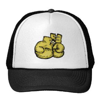 golden boxing gloves graphic trucker hat