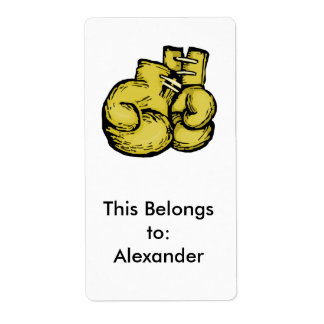 golden boxing gloves graphic label