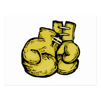 golden boxing gloves graphic postcard