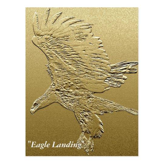 """Golden Boy"" Landing Eagle Gold Foil-effect Art Postcard"