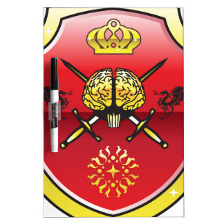 Golden brain. Shield with swords. Royal mind. Dry Erase Board