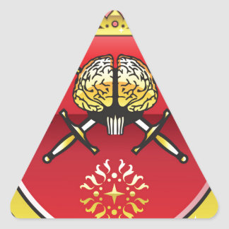 Golden brain. Shield with swords. Royal mind. Triangle Sticker