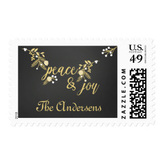 Golden Branches Peace and Joy Holiday Postage