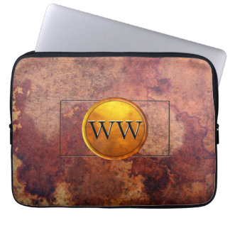 Golden Brass Monogram on Vintage Leather Computer Sleeves