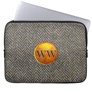 Golden Brass Monogram on Vintage Tweed Laptop Sleeve