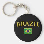 Golden Brazil Basic Round Button Keychain