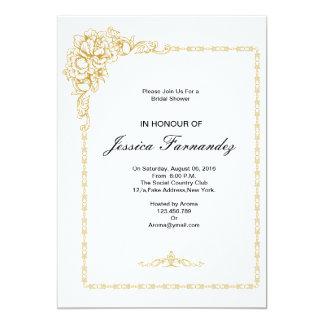 Golden Bridal Shower Invitation  Blue & Pink Opt.