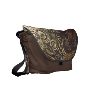 Golden brocade messenger bag