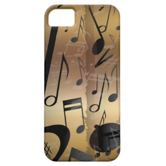 Golden Bronze & Black Music Notes iphone 4 Iphone 5 Cover
