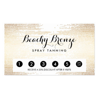 Golden Bronze Confetti Dots Salon Punch Card Double-Sided Standard Business Cards (Pack Of 100)