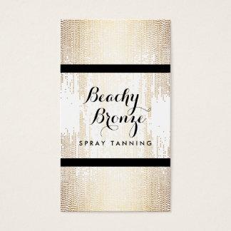 Golden Bronze Confetti Dots Spray Tanning Salon Business Card
