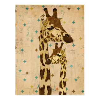 Golden Bronze Giraffes Retro  Postcard