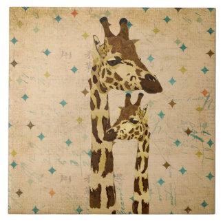 Golden Bronze Giraffes Retro  Tile