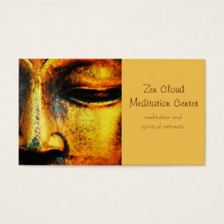 Golden Bronze Statue of the Buddhas Face Business Card