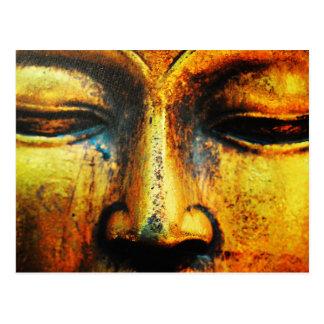 Golden Bronze Statue of the Buddhas Face Postcard