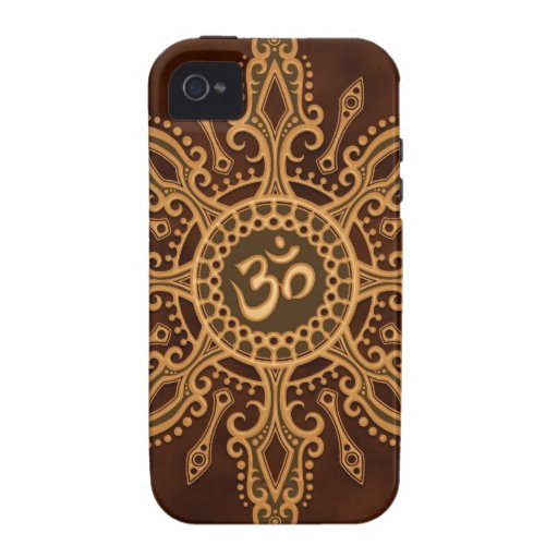 Golden Brown Aum Star iPhone 4 Case