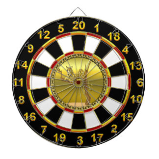 Golden brown cartoon spotted leopard dartboard with darts