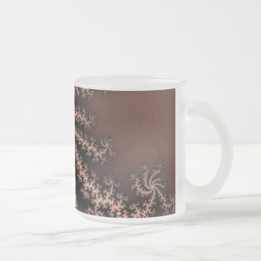 Golden Brown - coffee colored fractal swirls 10 Oz Frosted Glass Coffee Mug