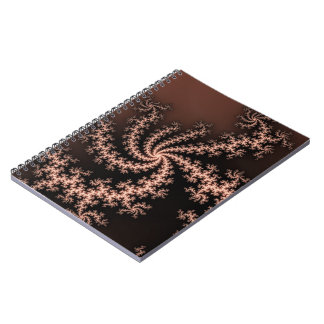 Golden Brown - coffee colored fractal swirls Spiral Note Books