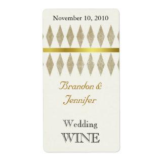 Golden Brown Diamonds Wedding Mini Wine Labels