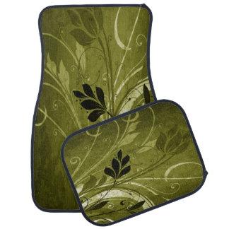 Golden Brown Floral Grunge Car Floor Mat