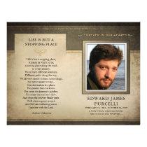 Golden Brown Funeral Memorial Service Program Flyer