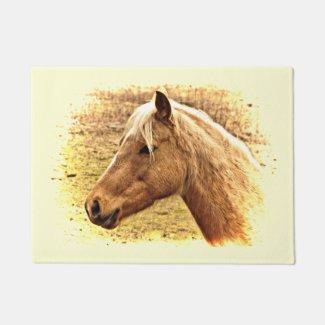 Golden Brown Horse in Sun Animal Door Mat