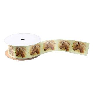 Golden Brown Horses in Sun Animal Ribbon