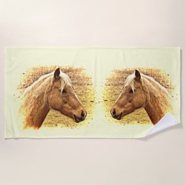 Beach Themed Golden Brown Horses in Sun Beach Towel