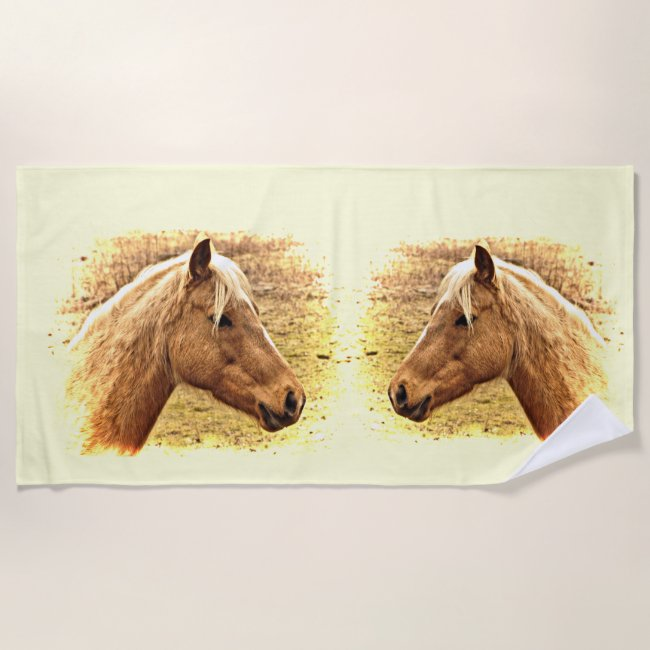 Golden Brown Horses in Sun Beach Towel