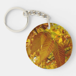 Golden Brown Leaves Keychain