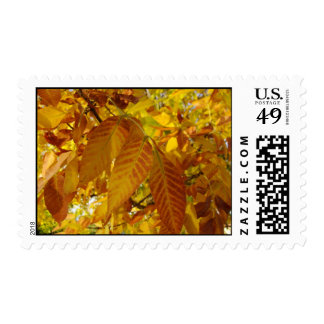 Golden Brown Leaves Postage
