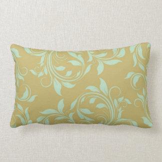 Golden brown & Mint green  damask lumbar pillow