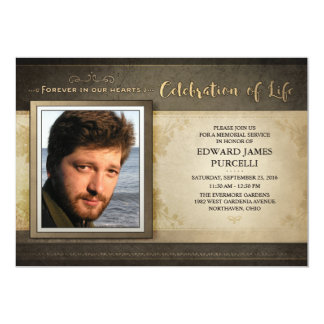 Golden Brown Photo Memorial Service Invitation