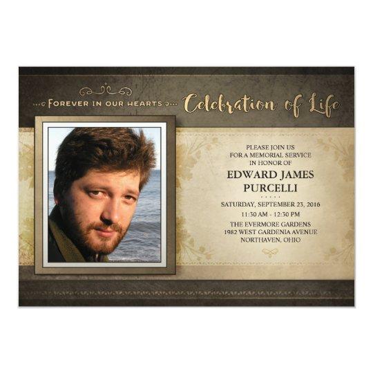 Golden Brown Photo Memorial Service Invitation | Zazzle